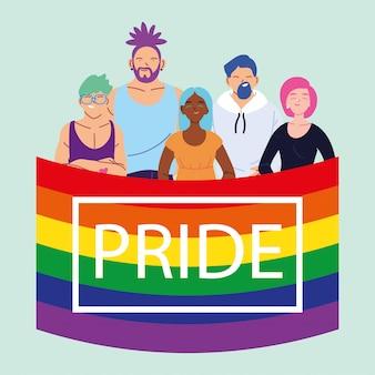 Personnes avec drapeau de fierté lgbtq, égalité et droits des homosexuels