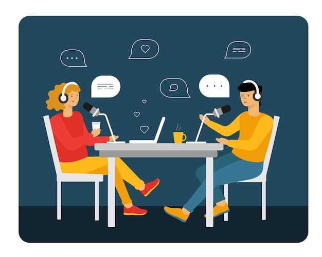 Personnes enregistrant un podcast audio ou une illustration vectorielle en ligne à plat.