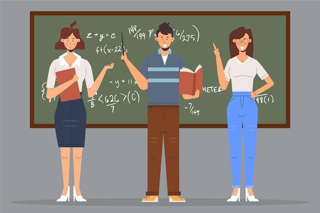 Personnes enseignant devant la classe