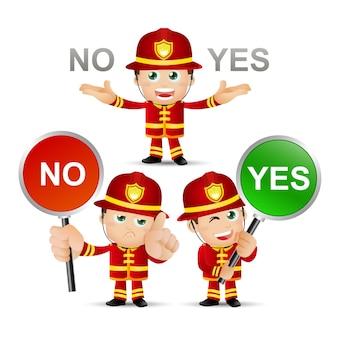 Personnes ensemble profession pompier