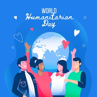 Personnes envoyant une journée humanitaire mondiale en direct