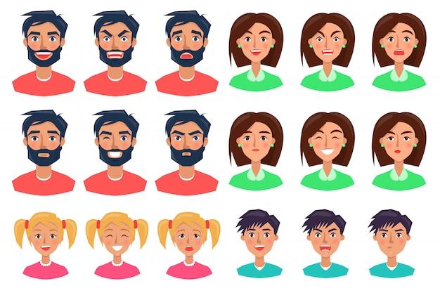 Personnes exprimant des émotions ensemble d'icônes sur blanc