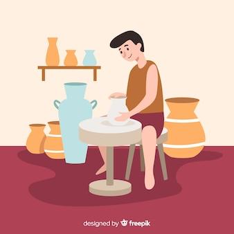 Personnes fabriquant un design plat de poterie