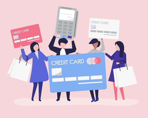 Personnes faisant des achats avec une carte de crédit