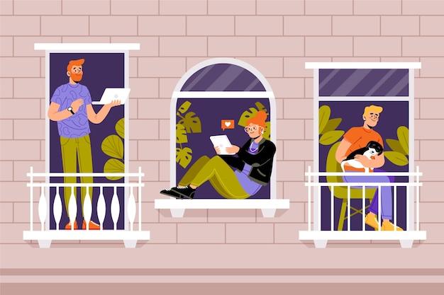 Personnes faisant des activités de loisirs sur balcon