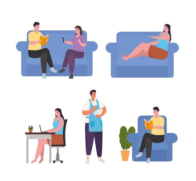 Personnes faisant des activités à la maison, conception de collection d'icônes d'activités et de loisirs