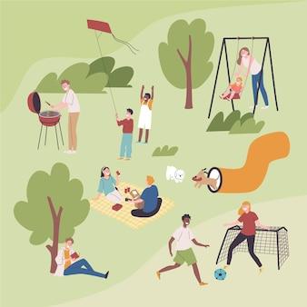 Personnes faisant différentes activités de plein air