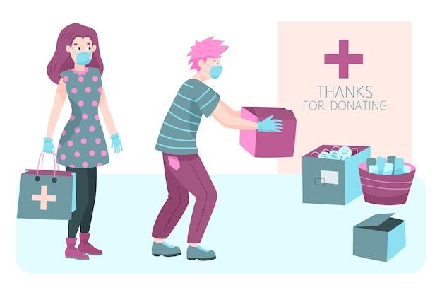 Personnes faisant don de différents matériaux sanitaires