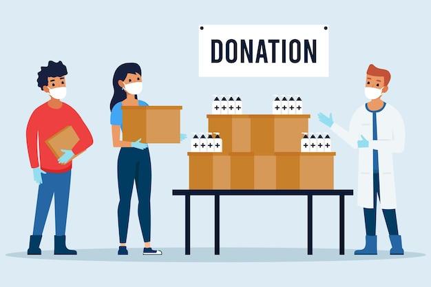 Personnes faisant don de matériel sanitaire différent en période de quarantaine