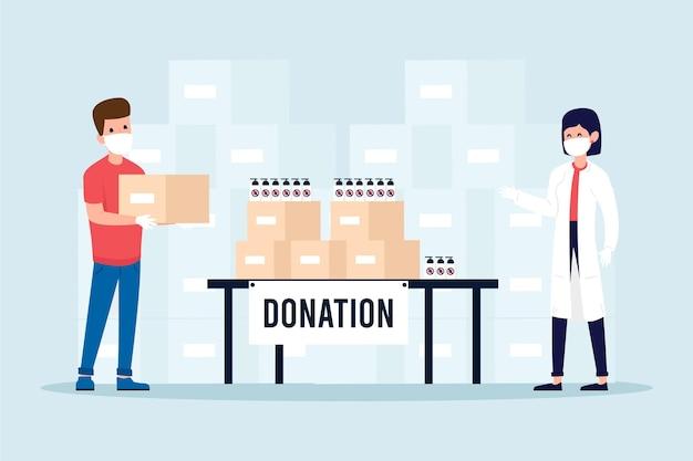Personnes faisant don de matériel sanitaire en quarantaine