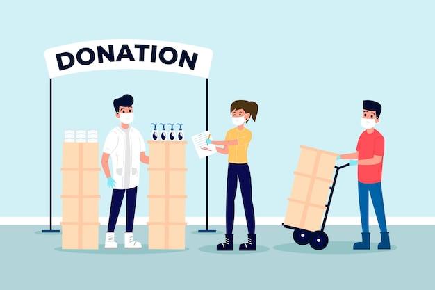 Personnes faisant don de matériel sanitaire