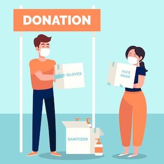 Personnes faisant un don de matériel sanitaire