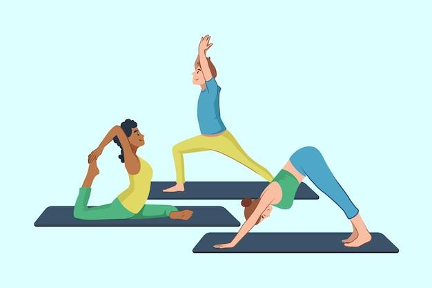 Personnes faisant du yoga pack