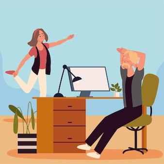 Personnes faisant une pause active d'étirement
