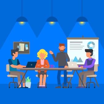 Personnes faisant des travaux de collaboration ou de réunion illustration