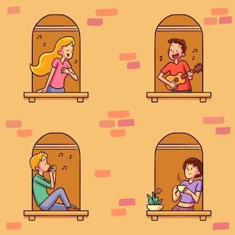 Personnes sur les fenêtres pour la quarantaine