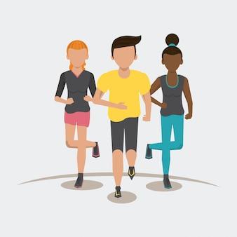Personnes de fitness en cours d'exécution frontview