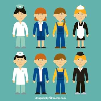 Personnes avec fond de différents emplois dans le style dessiné à la main