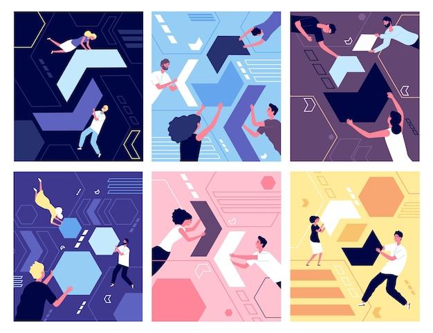 Personnes et formes géométriques. collection de puzzles, organisation ou travail d'équipe. groupe de personne qui collectionne l'illustration abstraite du chaos. puzzle d'abstraction d'organisation, homme d'affaires collectionnant