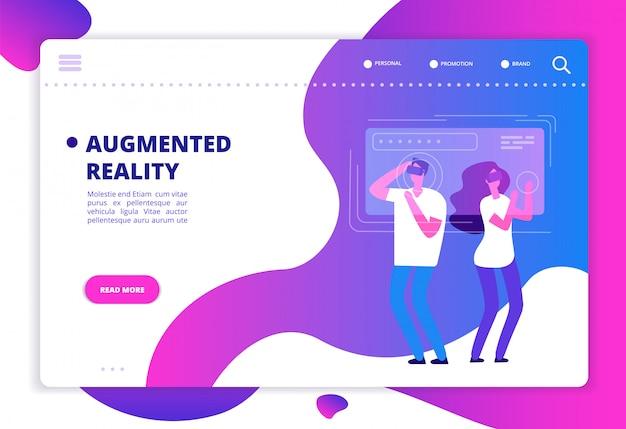 Les personnes avec les futurs gadgets vr. modèle de site web