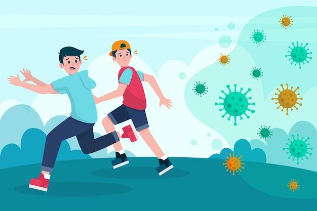 Des personnes fuyant des particules de coronavirus