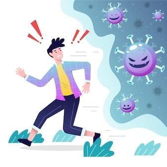 Personnes fuyant des particules de coronavirus
