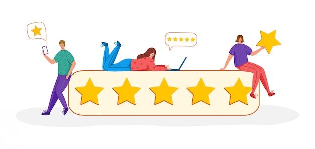 Personnes avec des gadgets et des étoiles - commentaires des clients ou concept de révision, service en ligne