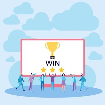 Personnes gagnant et illustration vectorielle de succès