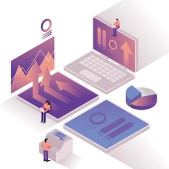 Personnes et graphiques avec ordinateur portable et statistiques vector illustration design