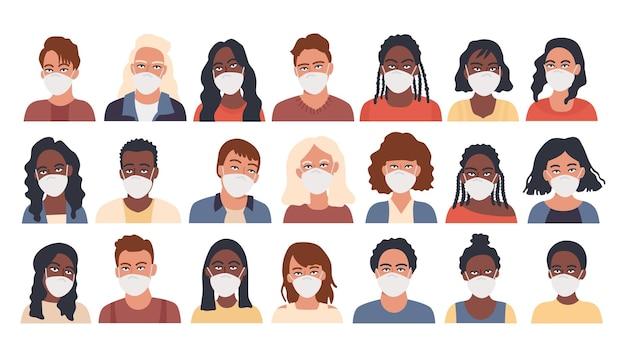 Personnes en gros paquet d'avatar de masque de protection