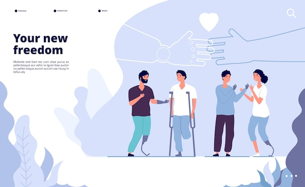 Les personnes handicapées atterrissent. journée internationale des personnes handicapées. prothèse vous offre une nouvelle opportunité. vector design journée mondiale internationale personnes handicapées illustration