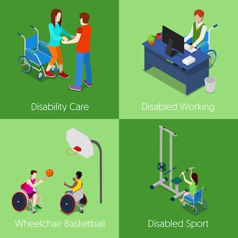 Personnes handicapées isométriques. soins aux personnes handicapées, travail handicapé, basket-ball en fauteuil roulant, sport handicapé. 3d illustration plat
