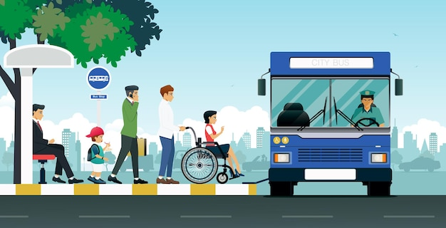 Les personnes handicapées utilisent des bus qui s'arrêtent pour prendre des passagers.