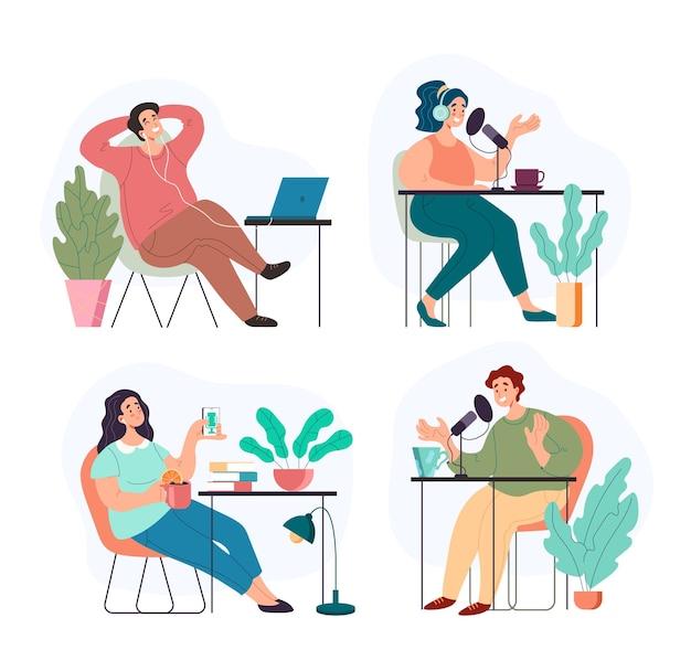 Personnes homme femme personnages écoutant et enregistrant un podcast audio
