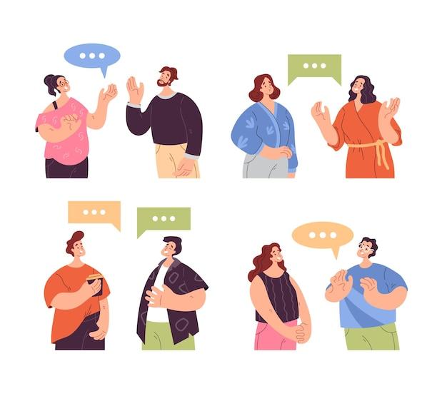 Personnes homme femme personnages parler ensemble