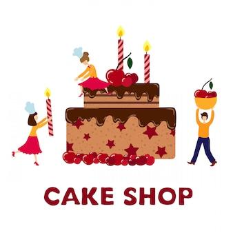 Personnes - hommes, femmes - cuisiner, décorer un gâteau d'anniversaire