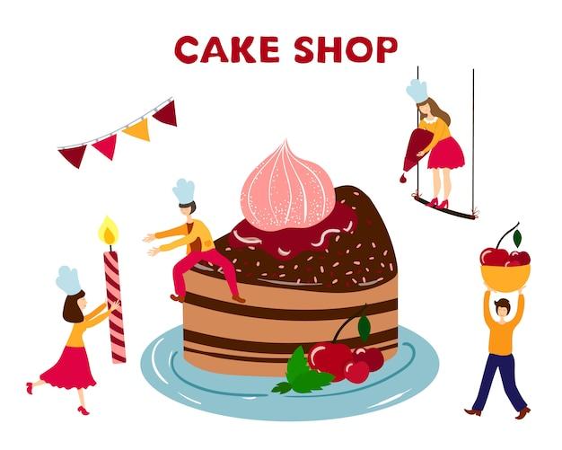 Personnes - Hommes, Femmes - Cuisiner, Décorer Un Gâteau D'anniversaire Vecteur Premium