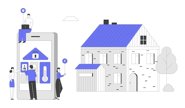 Personnes à huge tablet avec app pour le système smart house technology avec contrôle centralisé.