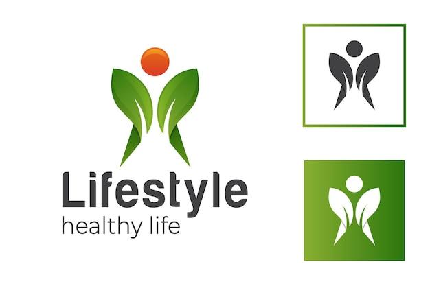 Personnes humaines avec des feuilles vertes ou un mode de vie biologique végétal pour un modèle de logo de régime alimentaire sain