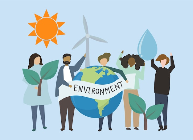 Personnes avec illustration d'énergies renouvelables
