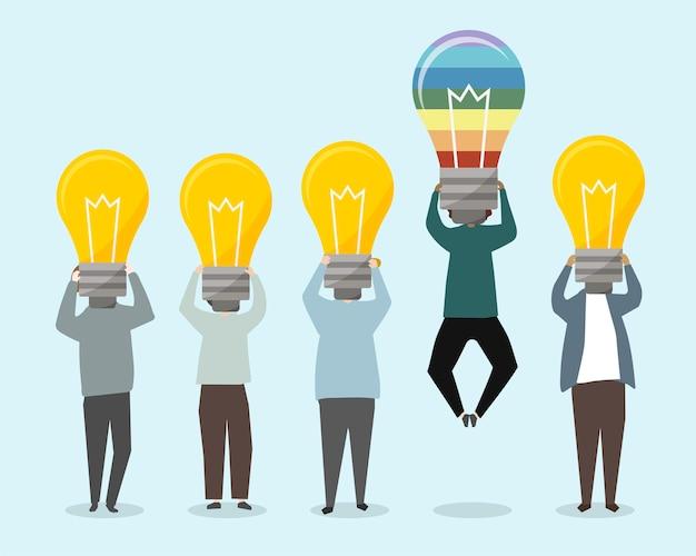 Personnes avec illustration d'idées lumineuses