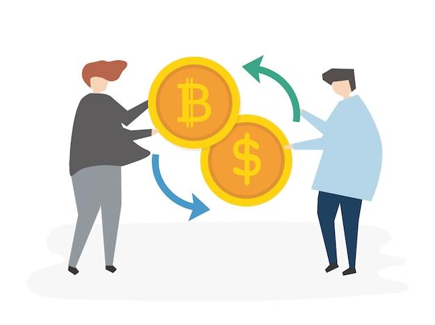 Personnes illustrées attrapant de l'argent