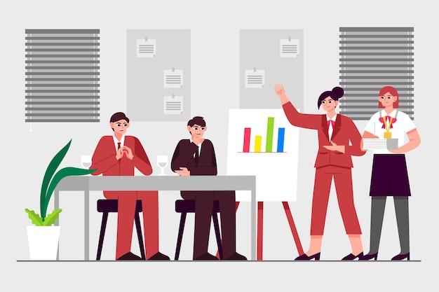 Personnes illustrées sur la formation commerciale