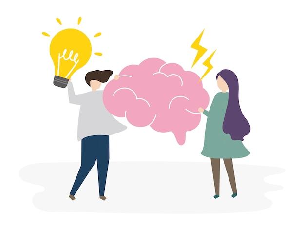 Des personnes illustrées avec des idées créatives