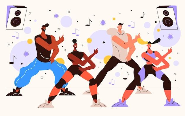 Personnes illustrées pratiquant la danse fitness en classe