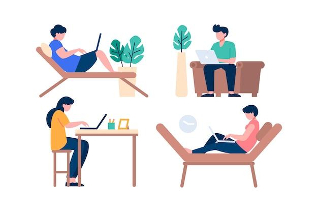 Personnes illustrées travaillant à distance