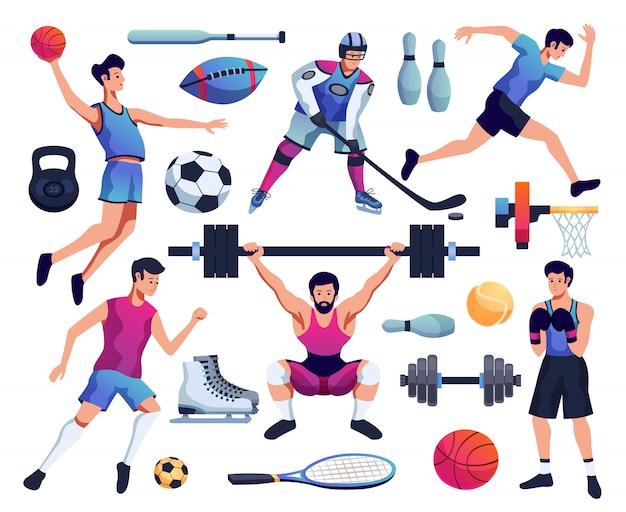 Personnes Impliquées Dans Le Sport Set Vecteur gratuit