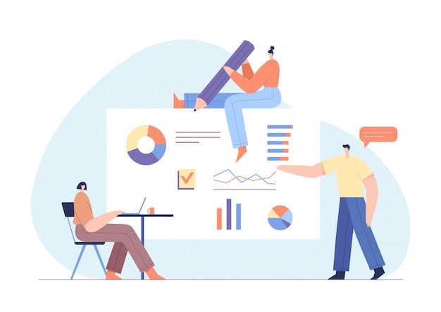Personnes interagissant avec des graphiques et analysant des statistiques. logiciel de suivi des clients. concept d'enquête en ligne.