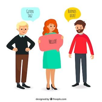 Les personnes internationales parlant différentes langues