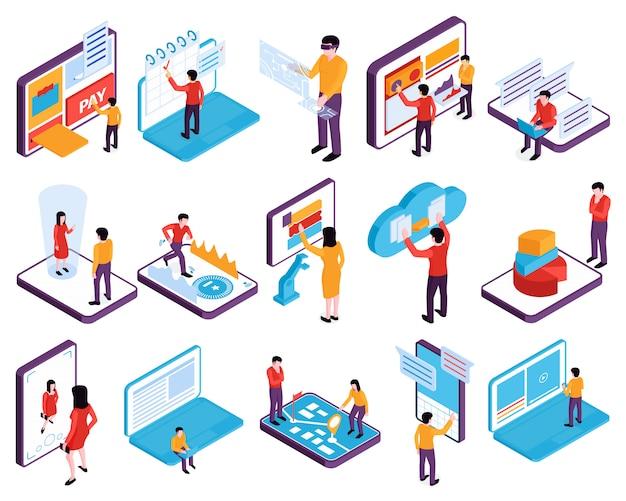 Personnes isométriques interfaces appareils ensemble d'images isolées avec des téléphones portables, des ordinateurs portables et des personnages humains vector illustration
